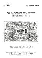 """Historisches Markenzeichen für den Alpenkräuter-Magenbitter """"Bitter Dennler"""" der Likörfabrik August F. Dennler"""