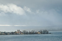 The island of Reichenau in Lake Constance with the parish church of St. Peter and Paul
