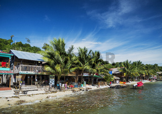 polluted dirty beach with garbage rubbish in koh rong island cambodia