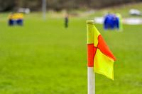 Soccer field with corner flag