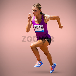 Composite image of athletic woman in running position