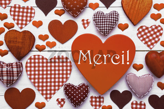 Brown Heart Texture With Merci Means Thank You
