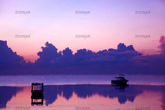Ocean sunset, boat.