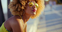 Sensual Girl with Afro Resting on Promenade