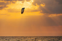 Kite surfer sailing in the sea