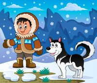 Inuit boy with Husky dog - picture illustration.