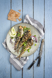 Barbecue Sardine on Plate