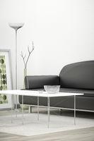 black sofa in a white room
