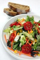 Gemischter Salat mit Roggenbrot