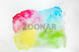 Colorful watercolor paint on white canvas. Super high resolution and quality.