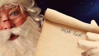 Closeup of Santa Clause holding scroll