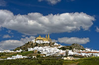 Pueblo Blanco Olvera with the parish church of Our Lady of the Incarnation, Spain