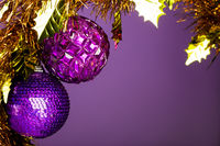 Christmas decoration on violet background