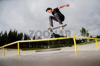 Skateboarder doing a ollie