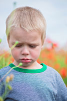 Unhappy boy in field with red poppies
