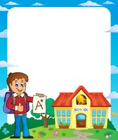 Frame with school boy 2 - picture illustration.