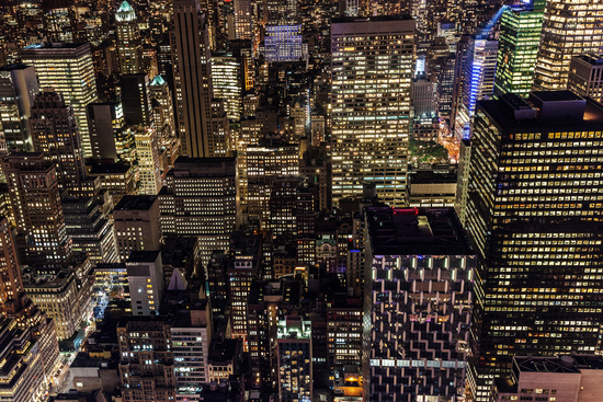 aerial view of Manhattan, NYC, at night