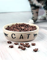 Katzentrockenfutter mit Katze im Hintergrund