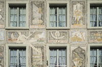 Front of a house with a historic facade painting in the old town of Stein am Rhein
