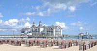 Pier and Beach of Sellin on Ruegen Island,baltic Sea,Mecklenburg western Pomerania,Germany