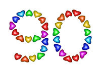 Number 90 made of multicolored hearts on white background