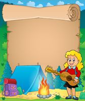 Parchment with girl guitarist in camp 1 - picture illustration.