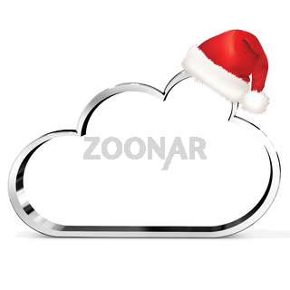 3d metallic cloud with red santa's hat
