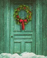 Rustic barn door with Christmas wreath