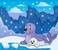 Happy seal with pup theme 3 - picture illustration.