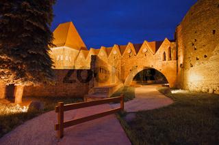 Teutonic Knights Castle at Night in Torun