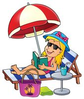 Girl on sunlounger image 1 - picture illustration.