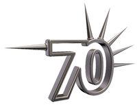 nummer siebzig mit stacheln aus metall - 3d illustration