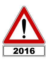 Warnschild mit Ausrufezeichen und Zusatzinformation - Attention sign with exclamation mark and added information