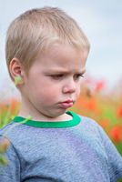 Upset boy in field with red poppies