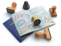 Travel or turism concept. Opened passport with visa stamps and different stampers isolated on white.