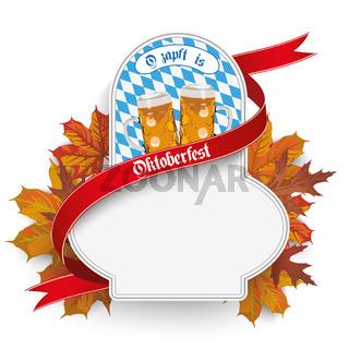 Bavarian Oktoberfest Flyer Emblem Beer Foliage