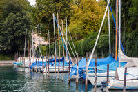 Sailboats at the port in Ueberlingen, Lake Constance, Germany