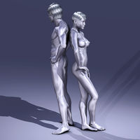 Digtal 3D Illustration of nude Man and Woman