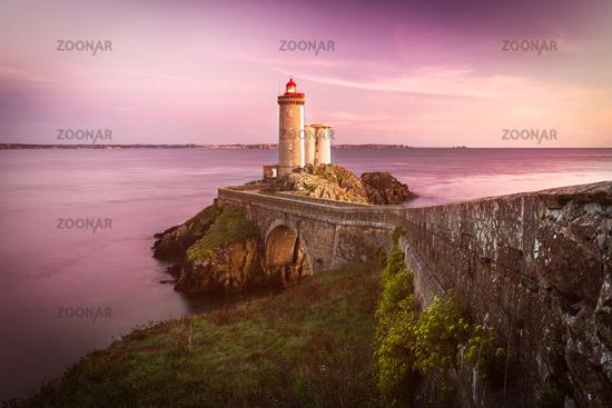 Lighthouse Phare du Petit Minou at sunset, Brittany, France