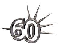 nummer sechzig mit stacheln aus metall - 3d illustration