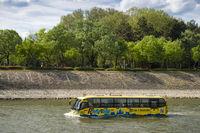 Bus swimming in river danube Budapest Hungary