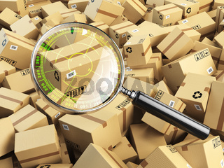 Delivery, shipping, logistics concept. Cardboard box tracking search. Loupe with aim and boxes.