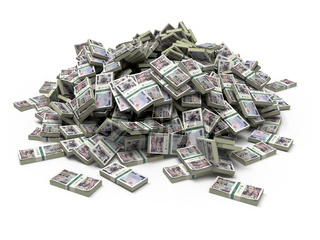Heap of japanese yen pack money isolated on white.