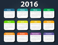 Calendar 2016 year design template in Spanish.