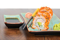 California maki sushi with masago and ginger