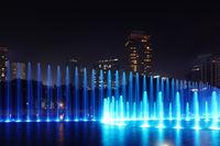 Fountain at night in Kuala Lumpur