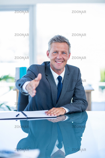 Businessman ready to shake hand