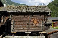 Valaisian chalets, Binn, Binntal valley, Valais, Switzerland