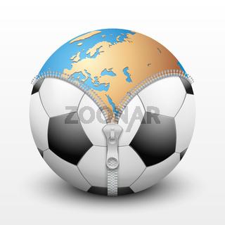 Planet Earth inside soccer ball