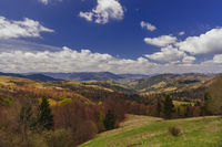 Mountain valley with clouds in Carpathians, Ukraine